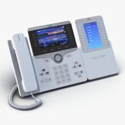 Telefone IP Cisco 8861 e modelo 3D branco do módulo de expansão 3d model