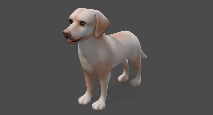 Cartoon Labrador royalty-free 3d model - Preview no. 3