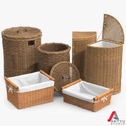Wicker Basket Rattan Set 2 3d model