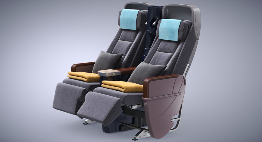 비행기 의자 royalty-free 3d model - Preview no. 3