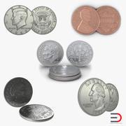 미국 동전 수집 3d model