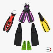 Yüzmek yüzgeçleri koleksiyon 2 3d model