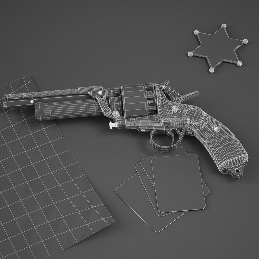 Revolver LeMat royalty-free 3d model - Preview no. 10
