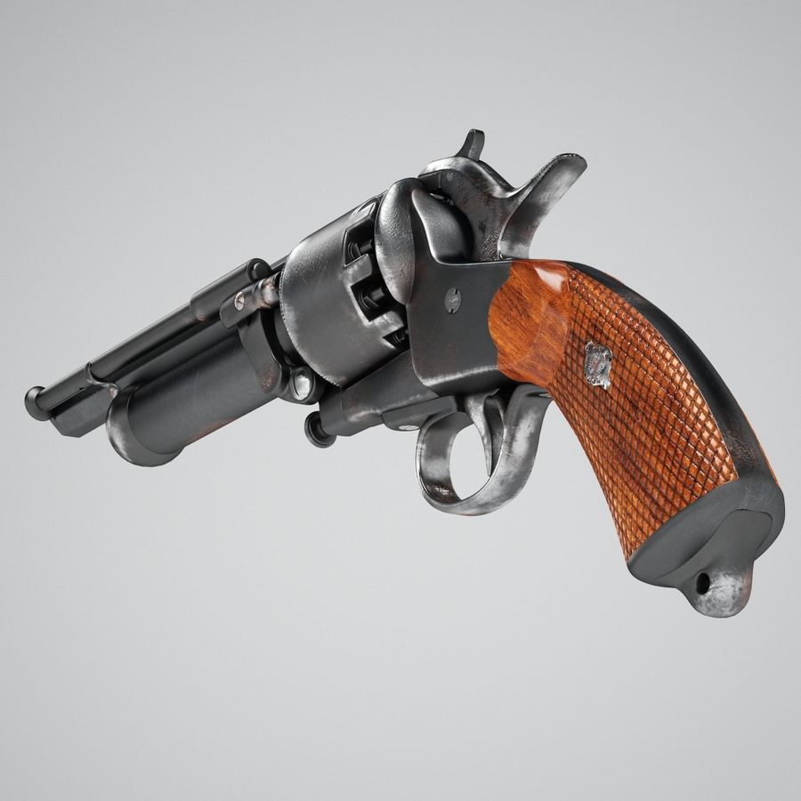 Revolver LeMat royalty-free 3d model - Preview no. 4