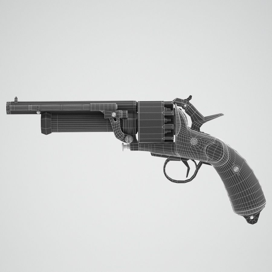 Revolver LeMat royalty-free 3d model - Preview no. 9