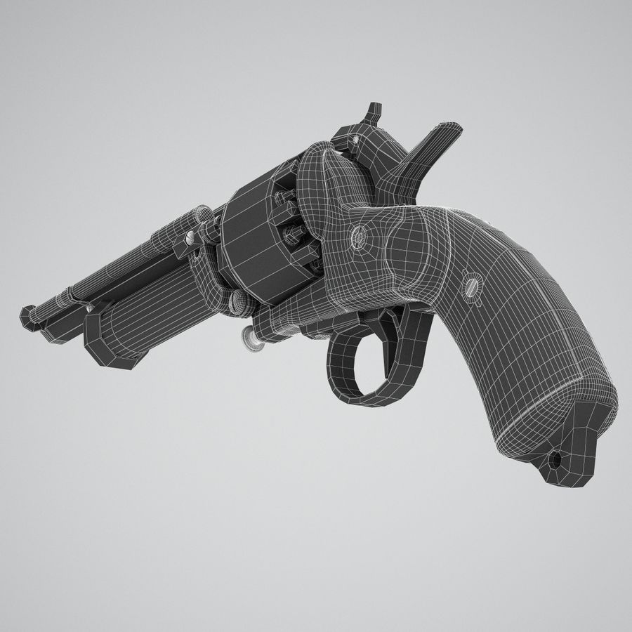 Revolver LeMat royalty-free 3d model - Preview no. 8