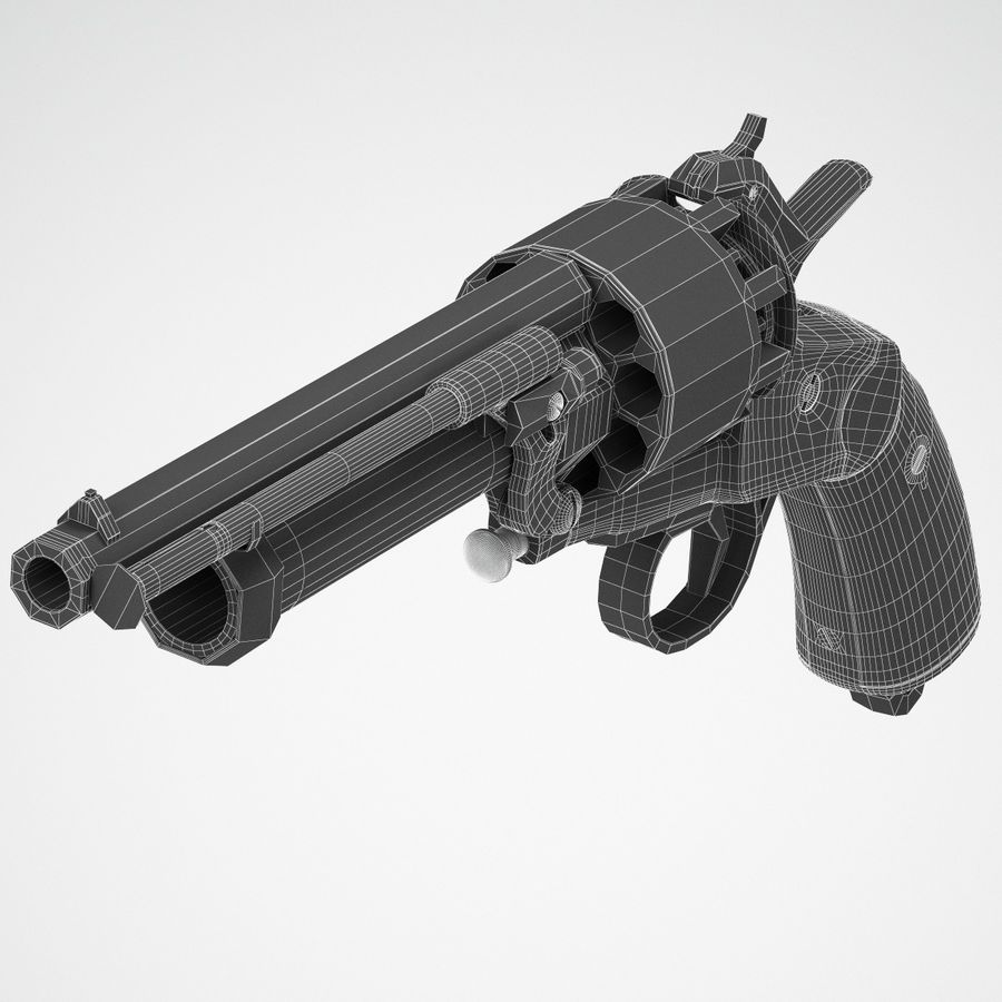 Revolver LeMat royalty-free 3d model - Preview no. 7