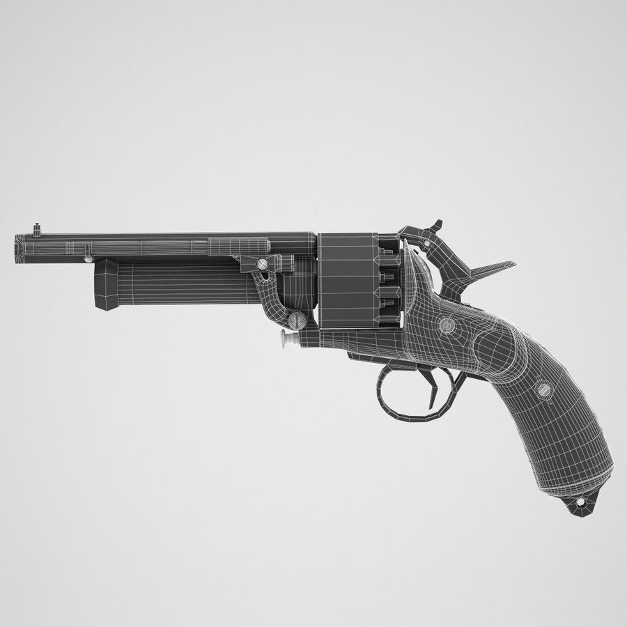 Revolver LeMat royalty-free 3d model - Preview no. 6