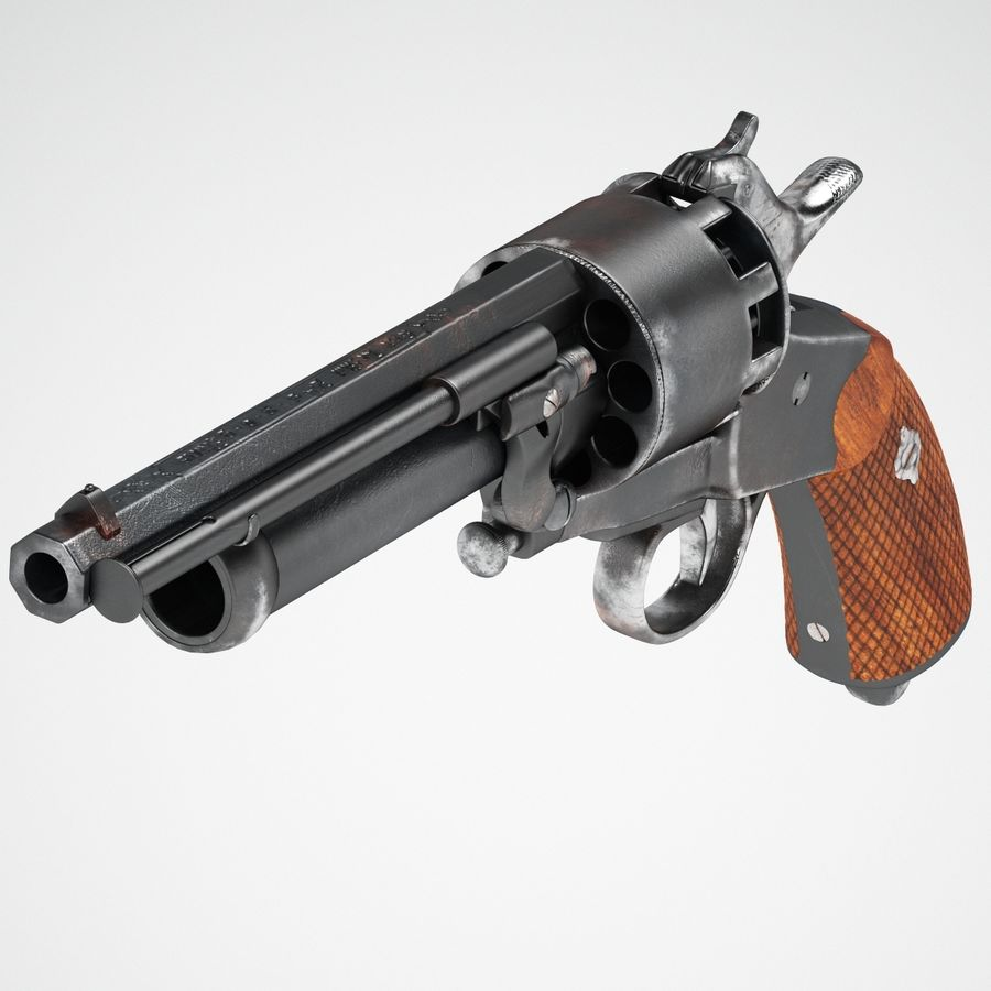 Revolver LeMat royalty-free 3d model - Preview no. 3
