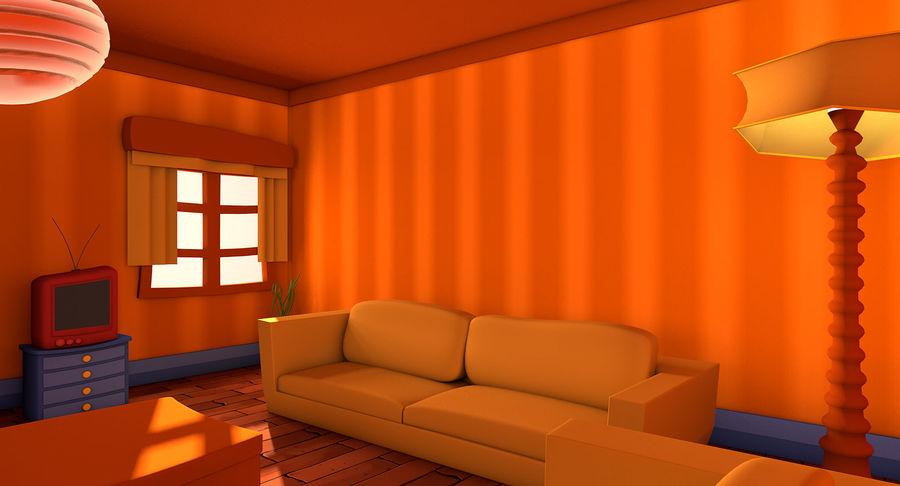 Çizgi film oturma odası royalty-free 3d model - Preview no. 3