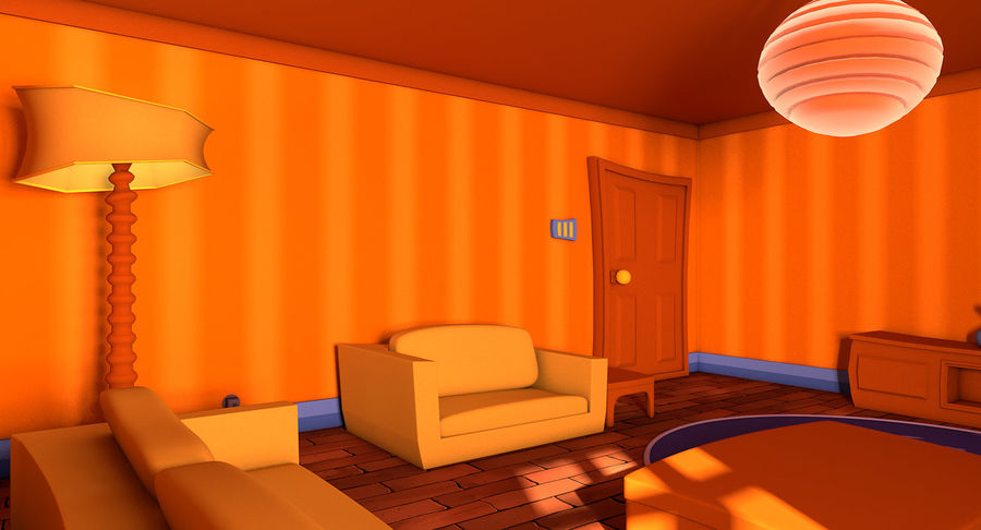 Çizgi film oturma odası royalty-free 3d model - Preview no. 7