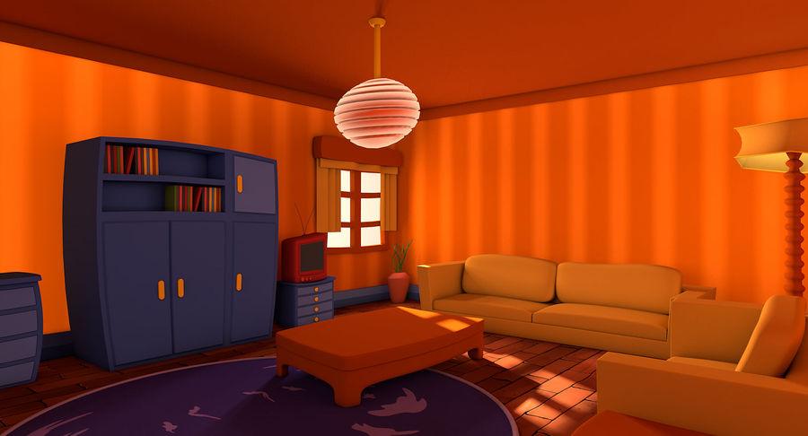 Çizgi film oturma odası royalty-free 3d model - Preview no. 2