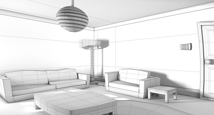 Çizgi film oturma odası royalty-free 3d model - Preview no. 16