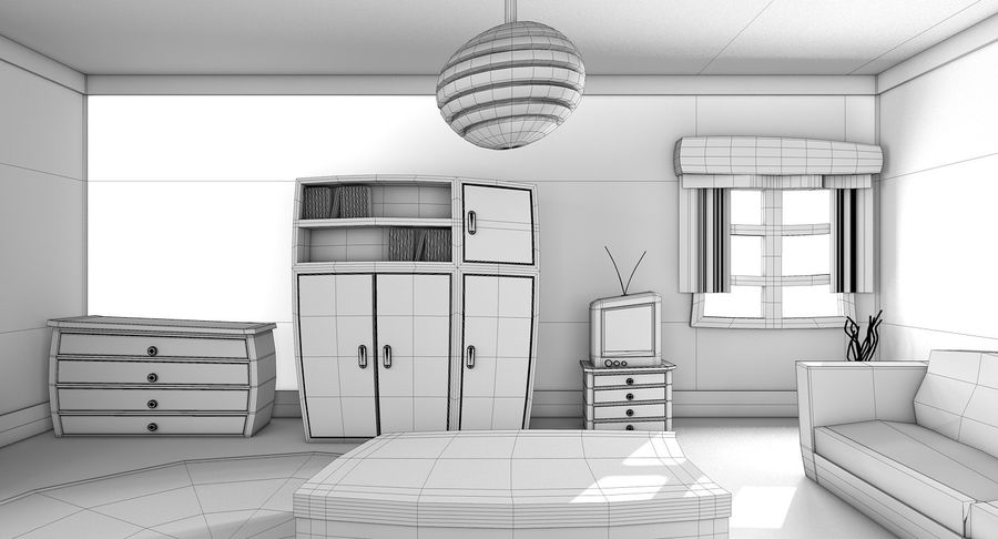 Çizgi film oturma odası royalty-free 3d model - Preview no. 17