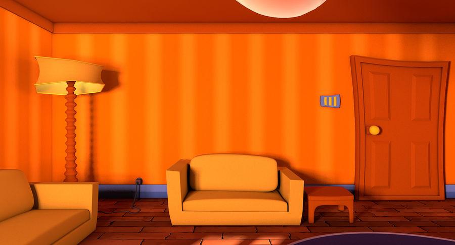 Çizgi film oturma odası royalty-free 3d model - Preview no. 11