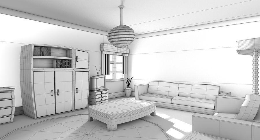 Çizgi film oturma odası royalty-free 3d model - Preview no. 13