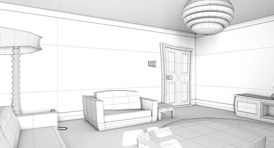 Çizgi film oturma odası royalty-free 3d model - Preview no. 15