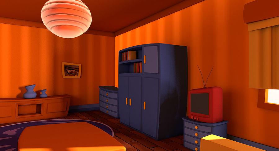 Çizgi film oturma odası royalty-free 3d model - Preview no. 6