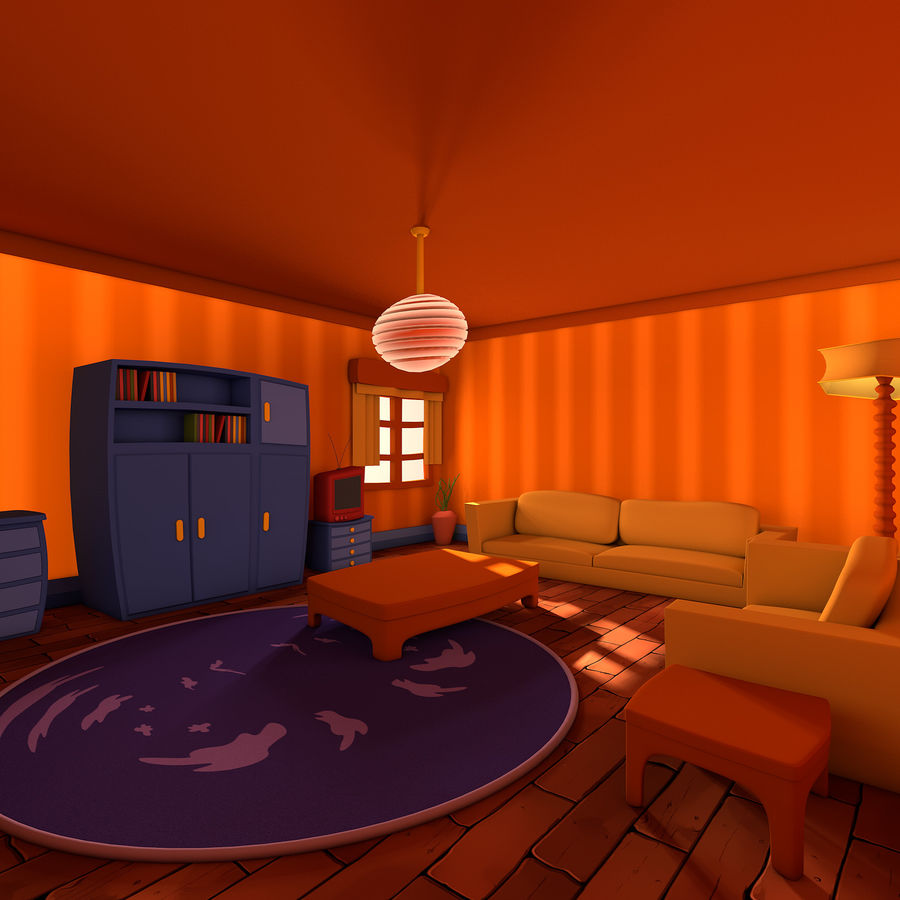 Çizgi film oturma odası royalty-free 3d model - Preview no. 1