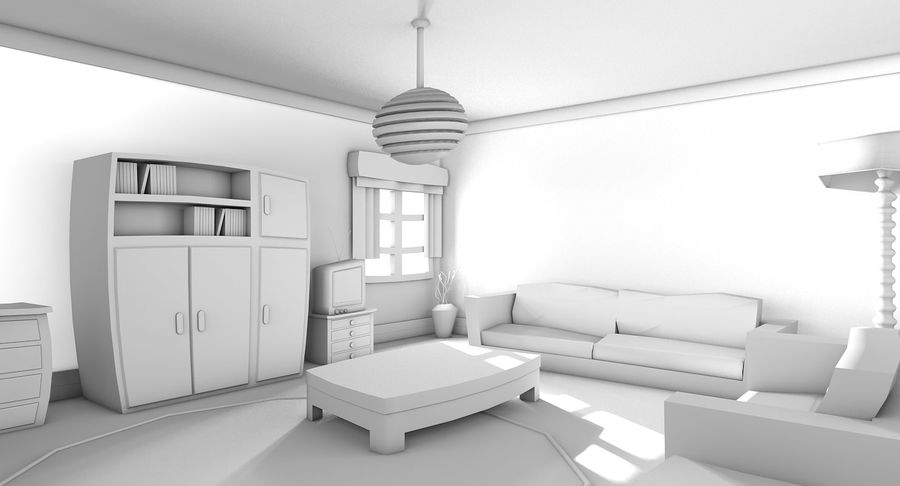 Çizgi film oturma odası royalty-free 3d model - Preview no. 12