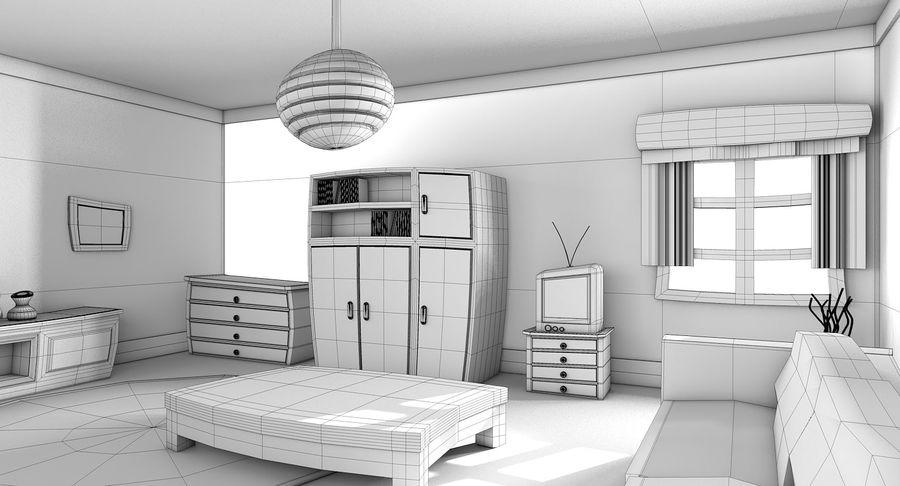 Çizgi film oturma odası royalty-free 3d model - Preview no. 14