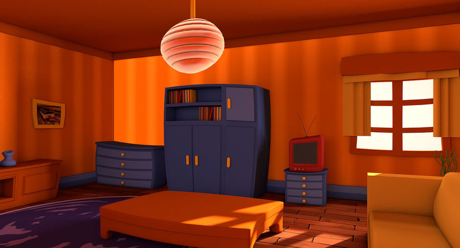 Çizgi film oturma odası royalty-free 3d model - Preview no. 4