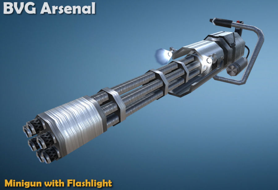 Minigun royalty-free 3d model - Preview no. 3