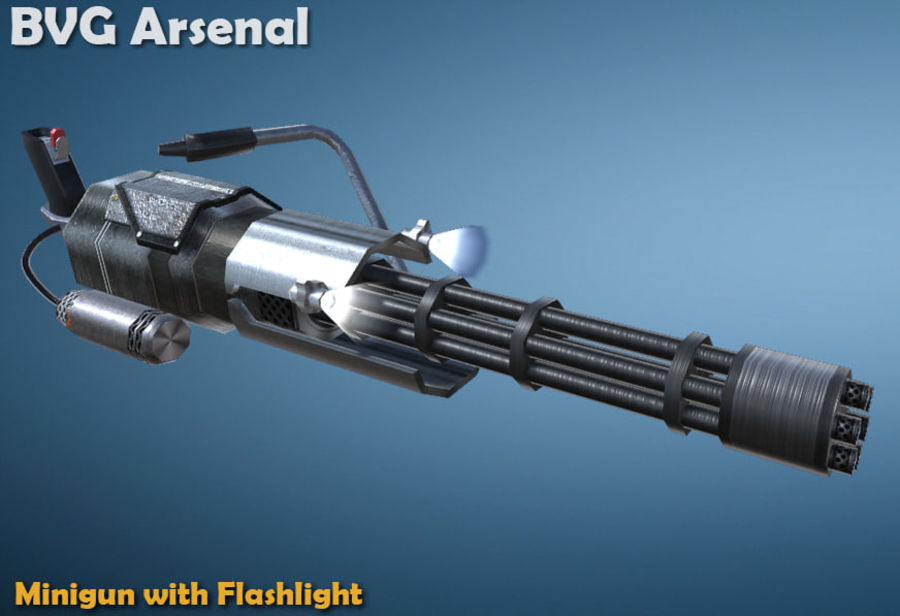 Minigun royalty-free 3d model - Preview no. 1
