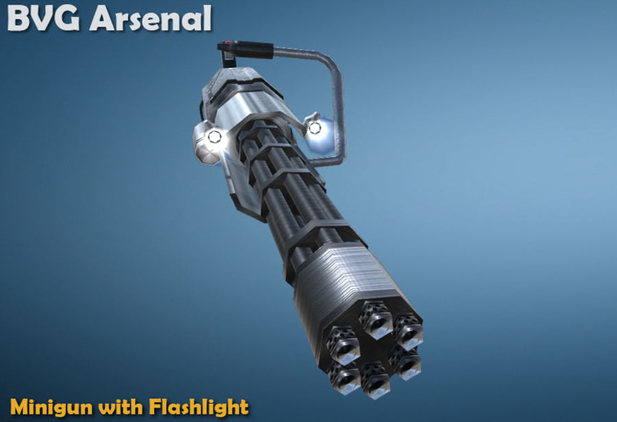 Minigun royalty-free 3d model - Preview no. 2