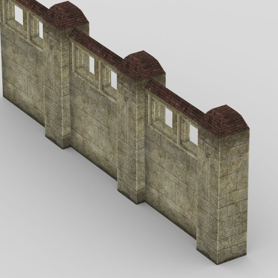 Wall Fence royalty-free 3d model - Preview no. 3