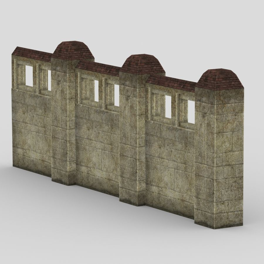 Wall Fence royalty-free 3d model - Preview no. 2
