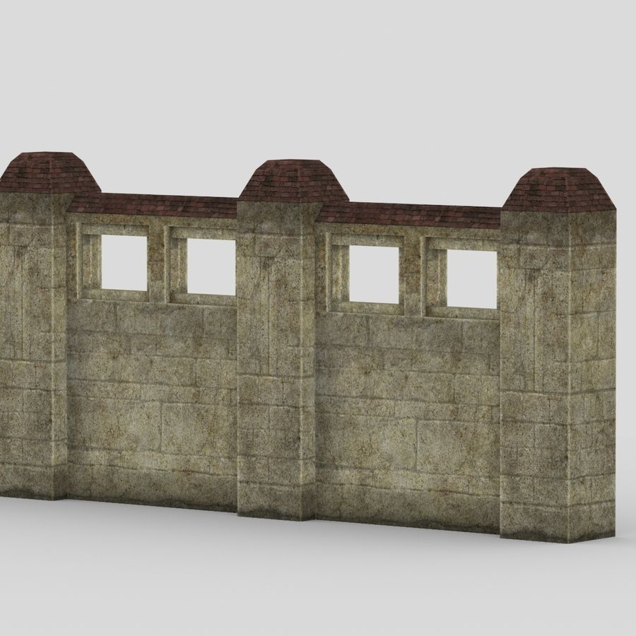 Wall Fence royalty-free 3d model - Preview no. 4