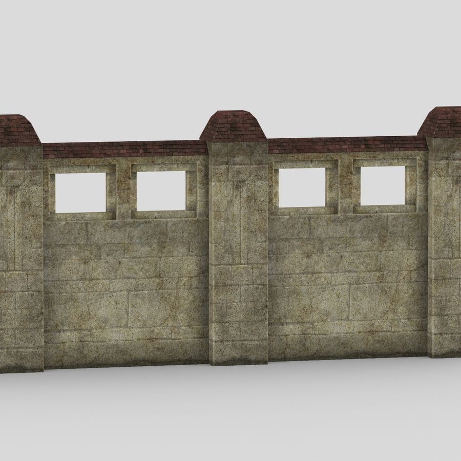 Wall Fence royalty-free 3d model - Preview no. 5