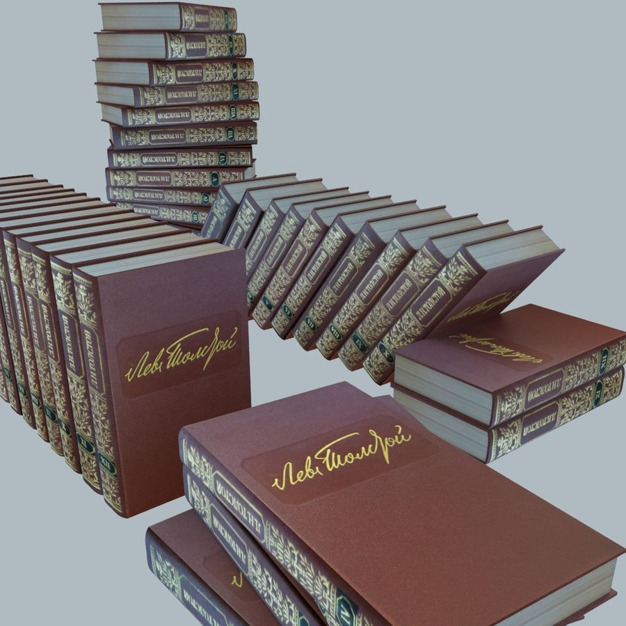 een set boeken van Tolstoj OORLOG EN VREDE royalty-free 3d model - Preview no. 1