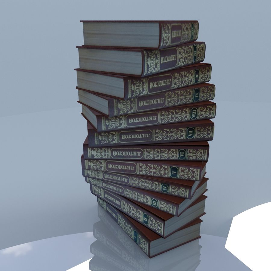 een set boeken van Tolstoj OORLOG EN VREDE royalty-free 3d model - Preview no. 7