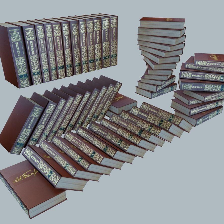 een set boeken van Tolstoj OORLOG EN VREDE royalty-free 3d model - Preview no. 3