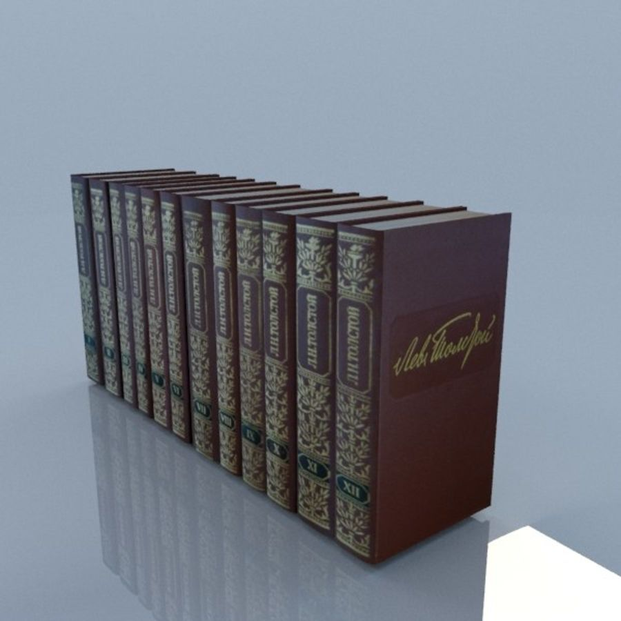 een set boeken van Tolstoj OORLOG EN VREDE royalty-free 3d model - Preview no. 5