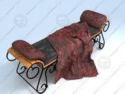 Ławka i poduszka z kutego żelaza 3d model