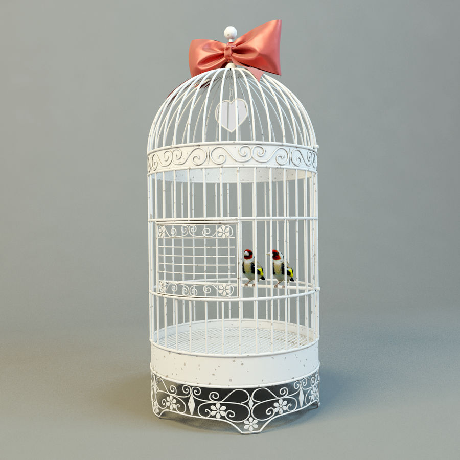 Клетка с птицами royalty-free 3d model - Preview no. 1