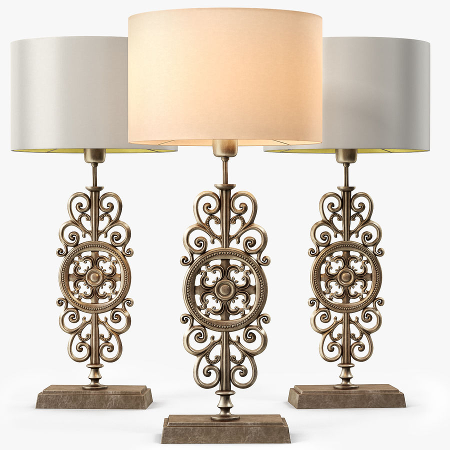 LuxDeco Prague brons bordslampa royalty-free 3d model - Preview no. 1