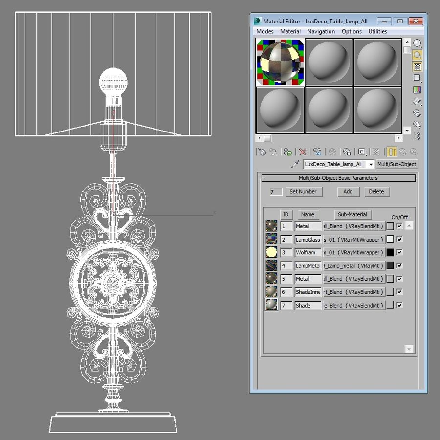 LuxDeco Prague brons bordslampa royalty-free 3d model - Preview no. 16