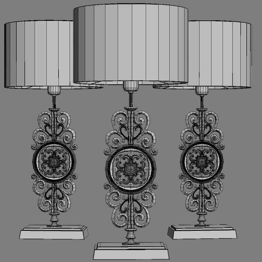 LuxDeco Prague brons bordslampa royalty-free 3d model - Preview no. 14