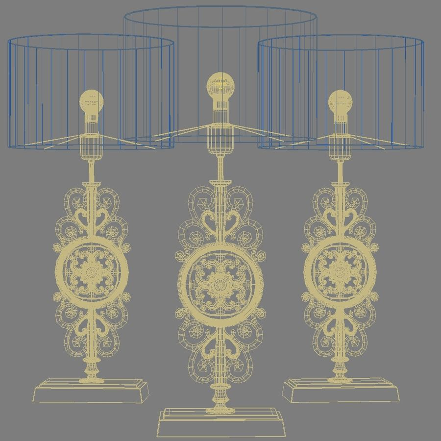LuxDeco Prague brons bordslampa royalty-free 3d model - Preview no. 8