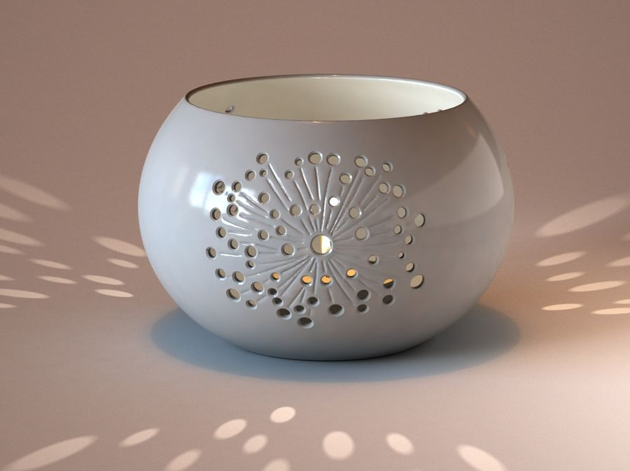 Ceramic Candle holder 02 royalty-free 3d model - Preview no. 1