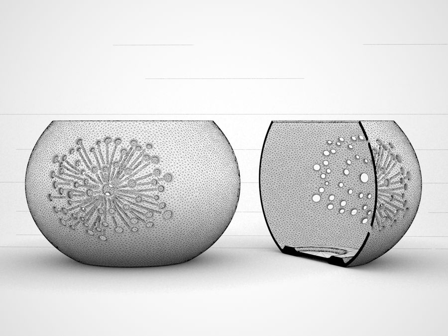 Ceramic Candle holder 02 royalty-free 3d model - Preview no. 6