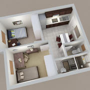 Apartment Furnished 3d model