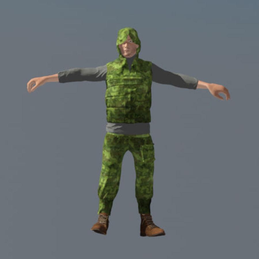 mężczyzna w wojskowym ubraniu. ożywiony royalty-free 3d model - Preview no. 1