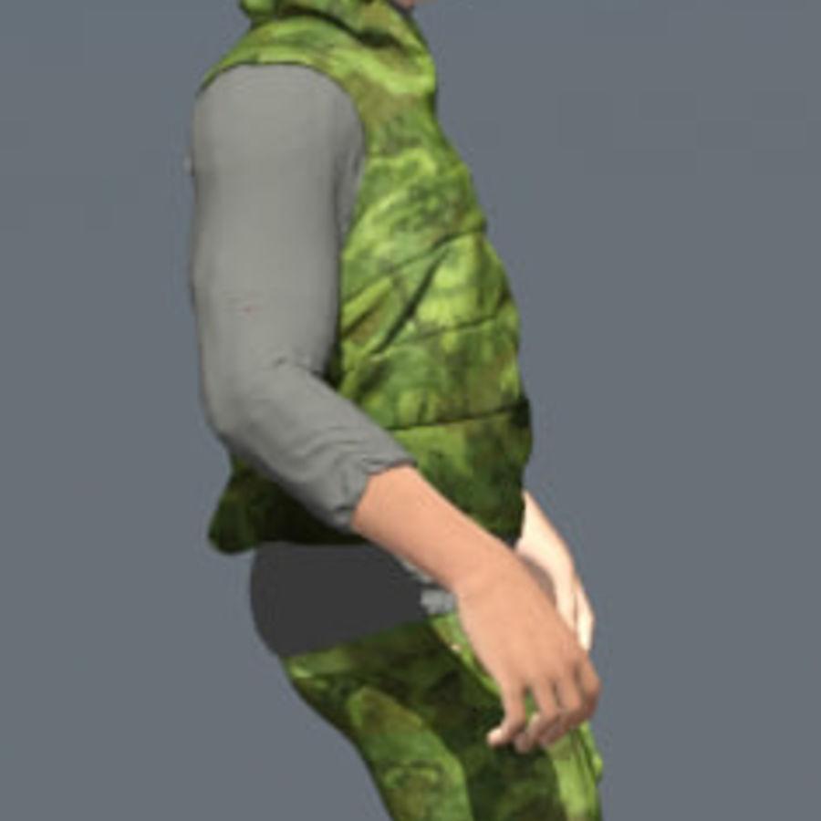 mężczyzna w wojskowym ubraniu. ożywiony royalty-free 3d model - Preview no. 5