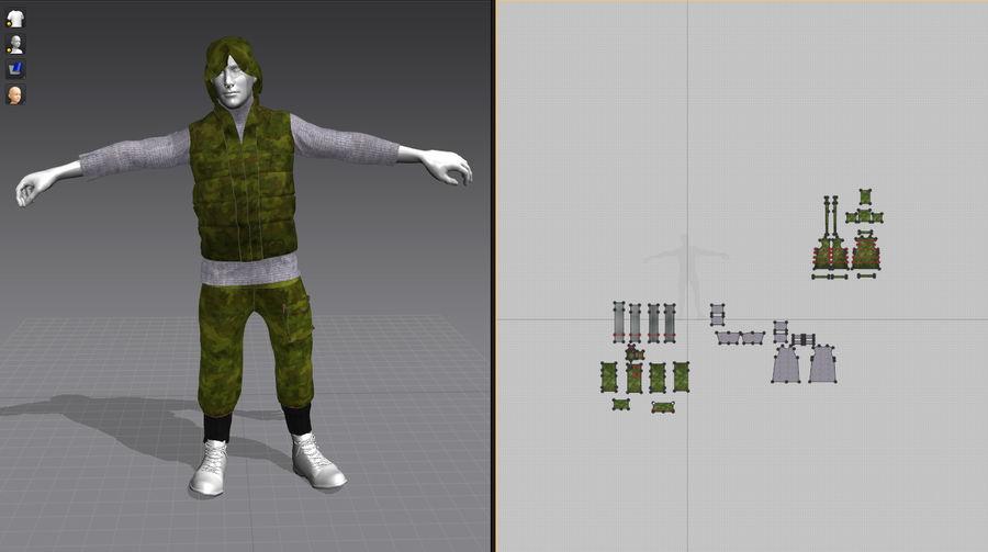 mężczyzna w wojskowym ubraniu. ożywiony royalty-free 3d model - Preview no. 3