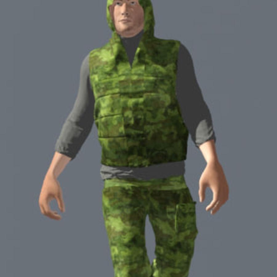mężczyzna w wojskowym ubraniu. ożywiony royalty-free 3d model - Preview no. 2
